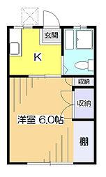 東京都東村山市富士見町5丁目の賃貸アパートの間取り