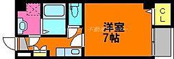 岡山電気軌道東山本線 柳川駅 徒歩5分の賃貸マンション 4階1Kの間取り