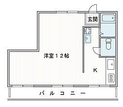 旭マンション 4階1Kの間取り