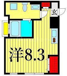 MarineCove西日暮里 3階ワンルームの間取り