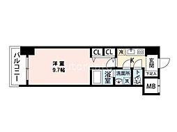 プレサンスNEO淀屋橋 6階1Kの間取り