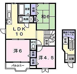 広島県東広島市西条町田口の賃貸アパートの間取り