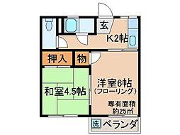 京都府京都市伏見区桃山与五郎町の賃貸アパートの間取り