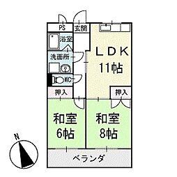 竹花マンションA棟[302号室]の間取り