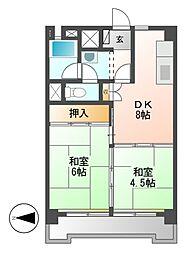 中駒九番団地2号棟[9階]の間取り