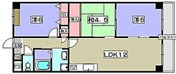 京都府八幡市男山松里の賃貸マンションの間取り