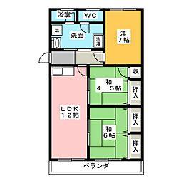 幸心東住宅2号棟 404号室[4階]の間取り