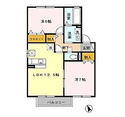 三重県四日市市本郷町の賃貸アパートの間取り