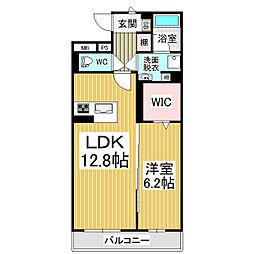 JR篠ノ井線 広丘駅 徒歩21分の賃貸マンション 4階1LDKの間取り