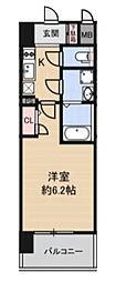 Osaka Metro谷町線 谷町六丁目駅 徒歩3分の賃貸マンション 8階1Kの間取り