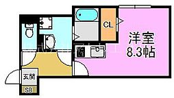 H&B吉田 1階ワンルームの間取り