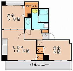 ワールドピース21[8階]の間取り