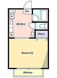 りらハウス 1階1Kの間取り