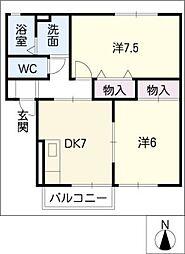 メゾンベルシャンテA棟[1階]の間取り