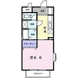 徳島県徳島市伊賀町3丁目の賃貸アパートの間取り