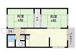 阪急宝塚本線 豊中駅 徒歩25分の賃貸アパート 2階2LDKの間取り