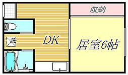 東京都大田区蒲田4丁目の賃貸マンションの間取り