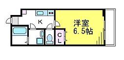 JR中央線 三鷹駅 徒歩4分の賃貸マンション 3階1Kの間取り