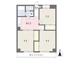JR中央線 国立駅 徒歩14分の賃貸マンション 2階3Kの間取り