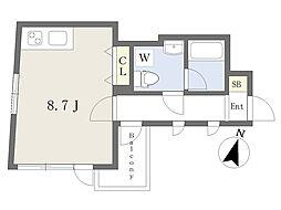 Gran Duo渋谷本町II 2階ワンルームの間取り