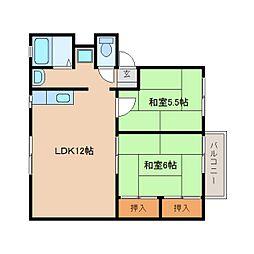 奈良県天理市蔵之庄町の賃貸アパートの間取り
