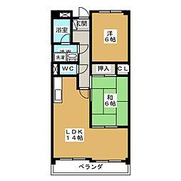 愛知県みよし市園原3丁目の賃貸マンションの間取り