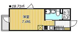 DAYBYDAY FUNABASI 2階ワンルームの間取り