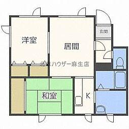 北海道札幌市北区新琴似十二条8丁目の賃貸アパートの間取り