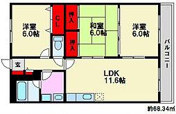 福岡県福岡市南区柏原6丁目の賃貸マンションの間取り
