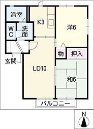 プランドール西口A棟[2階]の間取り