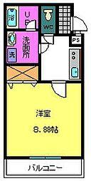 COZY HOUSEGUMINOKI 2階1Kの間取り