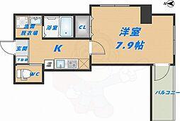 みおつくし高井田 9階1Kの間取り