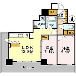 カスタリアタワー長堀橋[0805号室]の間取り