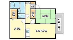 兵庫県姫路市広峰1丁目の賃貸アパートの間取り