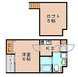 ソル箱崎[1階]の間取り