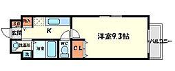 京阪本線 土居駅 徒歩3分の賃貸マンション 2階1Kの間取り
