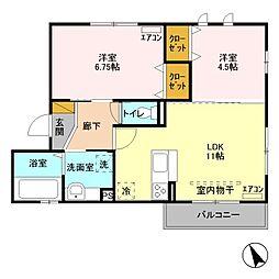 埼玉県越谷市平方南町の賃貸アパートの間取り