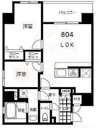 都営大江戸線 両国駅 徒歩10分の賃貸マンション 8階2LDKの間取り