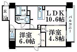Osaka Metro谷町線 天神橋筋六丁目駅 徒歩4分の賃貸マンション 7階2LDKの間取り