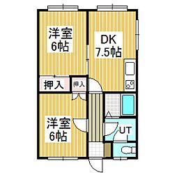 ハイツたんぽぽ3[104号室]の間取り