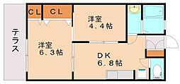 エクセル花畑[1階]の間取り