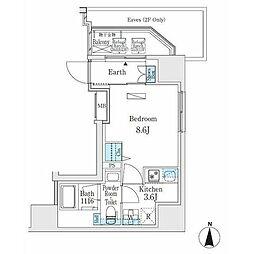 東京メトロ日比谷線 入谷駅 徒歩5分の賃貸マンション 2階1Kの間取り