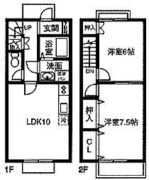 [テラスハウス] 愛知県名古屋市南区源兵衛町3丁目 の賃貸【/】の間取り