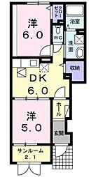 ベル シェリルB[1階]の間取り