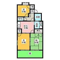 愛知県名古屋市天白区植田東2丁目の賃貸アパートの間取り