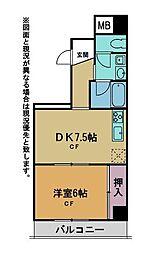 グロリアハイツ(広々1DK、人気の西口)[3階]の間取り