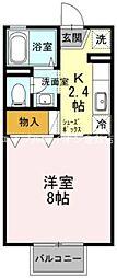 岡山県倉敷市連島中央5丁目の賃貸アパートの間取り