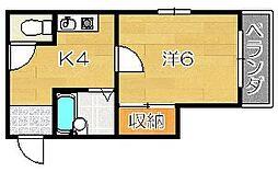 テースト西田中[3階]の間取り