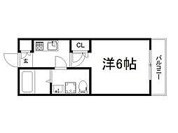 THE GARNET SUITE RESIDENCE深草 2階1Kの間取り