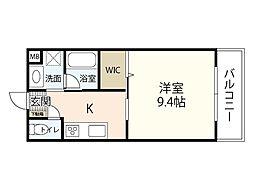 JR呉線 天神川駅 徒歩8分の賃貸マンション 3階1Kの間取り